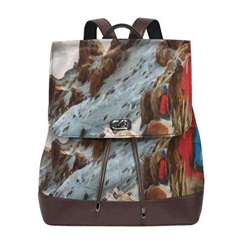 Women's Leather Backpack,Group of Trekkers Hiking Among Snows of Kilimanjaro In Winter In Painting Style,School Travel Girls Ladies Rucksack