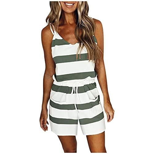OutTopJumpsuit for Women Spaghetti Strap V-Neck Stripe Splicing Summer Mini Belt Casual Boho Rompers (Green, L)