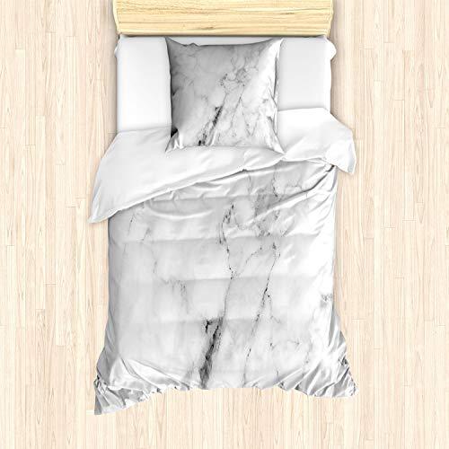 ABAKUHAUS Marmor Bettbezug Set für Einzelbetten, Cracked Linien künstlerisch, Milbensicher Allergiker geeignet mit Kissenbezug, Weiß Grau Sand