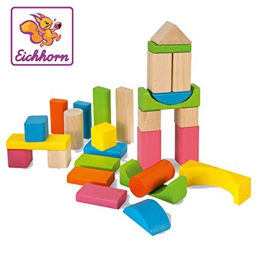 Eichhorn 100088021 60 bunte und naturfarbene Holzbausteine in der Aufbewahrungsbox mit Kordel und Sortierdeckel, FSC 100 Prozent zertifiziertes Buchenholz, für Kinder ab einem Jahr