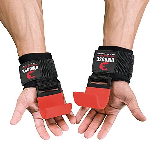 DMoose Fitness Gewichtheberhaken Grip(Paar)-8mm dick gepolstertes Neopren,Doppelnähte, rutschfeste Beschichtung-sichere deinen Halt und erreiche Deine Ziele mit hochwertigen Trainingshakenhandschuhen