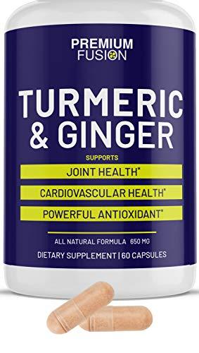 Organic Turmeric & Ginger Capsules w/Bioperine & 95 Percent Curcuminoids. Target Inflamation - 600 Mg of Tumeric Curcuma Longa - Root, Best for Brain Function, Heart & Joint Health