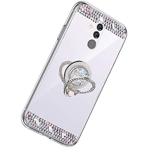 Herbests Kompatibel mit Huawei Mate 20 Lite Hülle Glitzer Kristall Strass Diamant Silikon Handyhülle mit Ring Halter Ständer Schutzhülle Überzug Spiegel Clear View Handytasche,Silber
