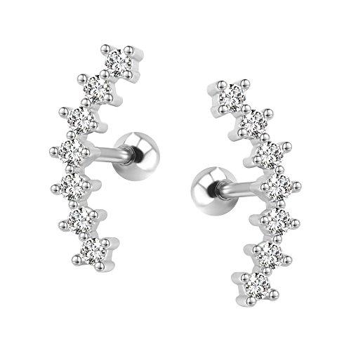 ZeSen Jewelry Curva Siete Stud CZ Stud Pendientes 316L Acero Inoxidable Ear Helix Conch Cartílago Piercing
