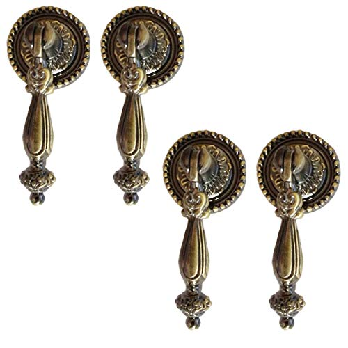 Chris.W 4 Pack Antique Style Bronze Metal Drawer Tear Drop Cabinet Decorative Pull Handle Knob