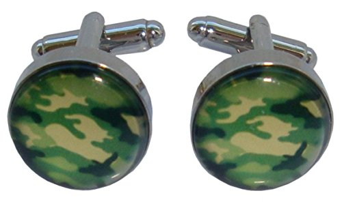 Bassin and Brown Green Round Camouflage boutons de manchette de