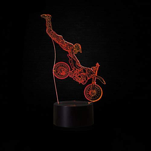 MCJDF 7 kleurverandering atmosfeer 3D cross-country motorfiets vorm bureaulamp LED verlichting decor touch schakelaar nacht licht