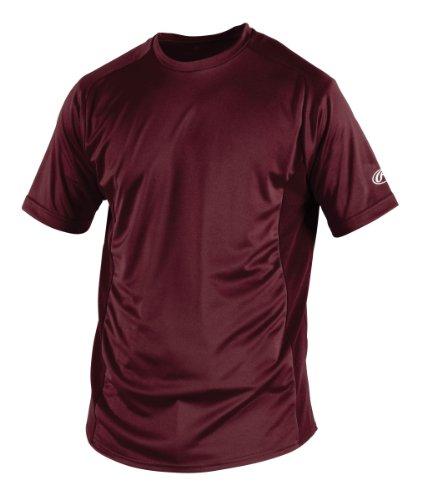 Rawlings Men's Short Sleeve Baselayer Shirt, Maroon, X-Large