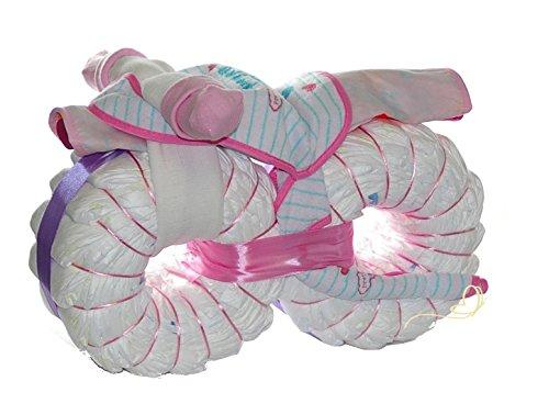 Windeltorte Motorrad rosa -Windelmotorrad Mädchen - Geschenk zur Geburt, Babyparty und Babyshower
