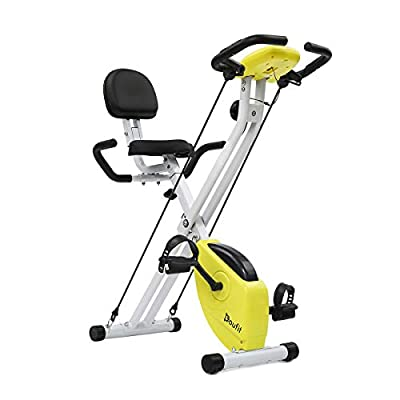 Folding Exercise Bike With Arm Workout, Doufit EB-01 Quiet Indoor Upright Bicycle with Backrest and Resistance Bands for Home Use