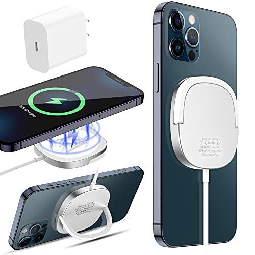 KKM Magnetische Kabelloses Ladegerät, Magsafe Ladegerät Kompatibel mit iPhone 12/12 Pro / 12 Pro Max / 12 Mini, 15W Schnell Wireless Charger,Silber (20W USB C Adapter Enthalten)
