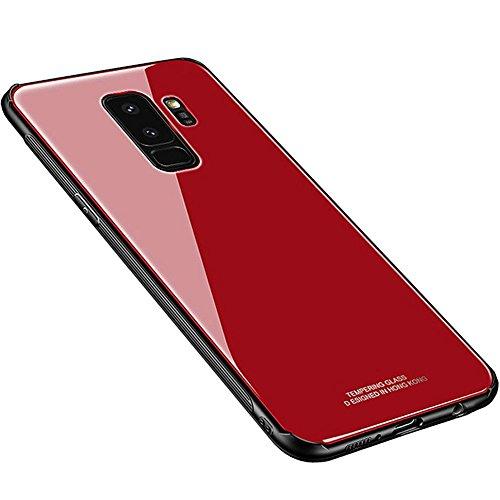 Kepuch Quartz Case Capas TPU &Voltar (Vidro Temperado) para Samsung Galaxy S9+ S9 Plus - Vermelho