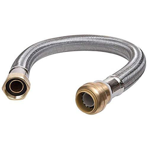 SharkBite GIDDS-134241 Hose, Push-to_Connect, Copper, PEX, CPVC Flexible Water Heater Connector 3/4' FIP, 3/4 Inch x 3/4 Inch x 15 Inch, Stainless Steel