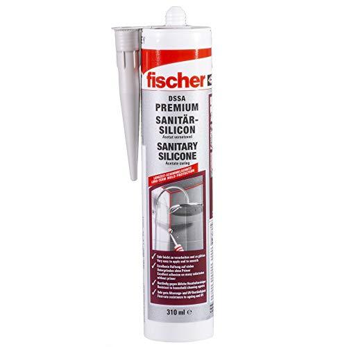 fischer DSSA W - Premium Sanitärsilicon für Eck-, Bewegungs- und Anschlussfugen im Sanitär- und Küchenbereich, dauerelastisch, weiß, 310 ml - 1 Stück - Art.-Nr. 53101