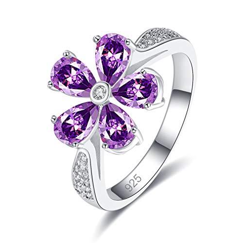YAZILIND Flor Forma Elegante cúbica Zirconia Alianza Anillo de Compromiso 925 Plata esterlina Amante Regalo púrpura(16,5)