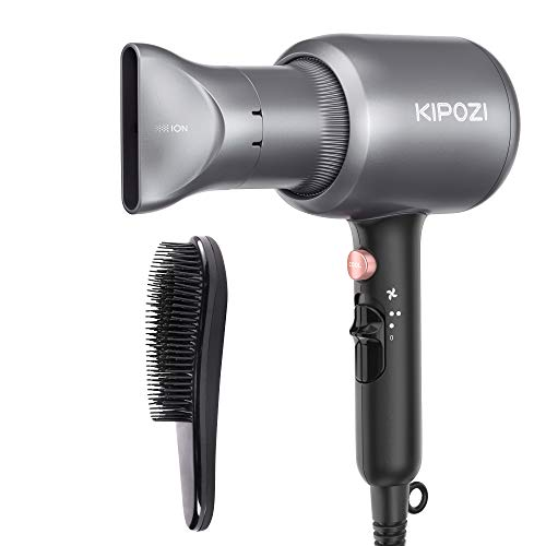 KIPOZI Asciugacapelli Professionale, Phon per Capelli Ionico da 2200W, Potente Fon da Salone per Un'Asciugatura Rapida – con Concentratore & Pettine, 2 Velocità & 3 Temperatura, Grigio