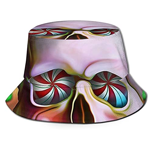 Sombrero de pescador 3D Sugar Skull Art Postre Skulls plegable Bucket Hat Summer Sun Hat para hombres y mujeres negro