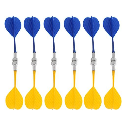 MagiDeal 12 STK Sicher Ersatz magnetische Dart Kunststoff Flügel Indoor Spiel Spielzeug, Mehrfarbig - Blau Gelb