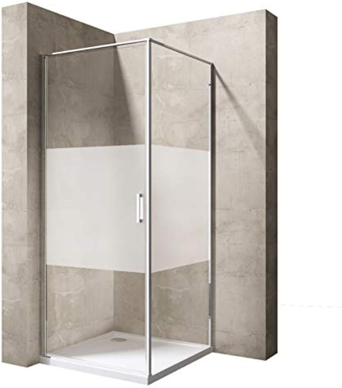 Sogood Eck-Duschkabine Ravenna56MS 80x80x195cm Duschabtrennung mit Milchglas Streifen ESG-Sicherheitsglas Einstiegsseite Rechts