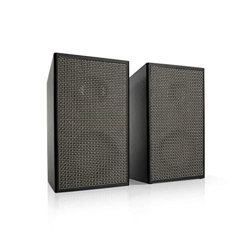 auna Pure Precision Box Aktives Lautsprecher-Set - 2-Wege Lautsprecher, integrierter Vorverstärker, 100 W max, 2 x 25 Watt RMS, 6 Ohm, Phono- und AUX-Eingang, Bassreflex-Gehäuse, schwarz