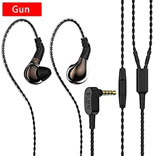 $39 Get HiFiHear BLON 03 in Ear Earphone,10mm Carbon Diaphragm Dynamic Drive Bass HiFi DJ in Ear Monitor, Diamond Mirror Process In Ear Headphone with 2pins Detachable Cable Wired Earphone(Gun With Mic)