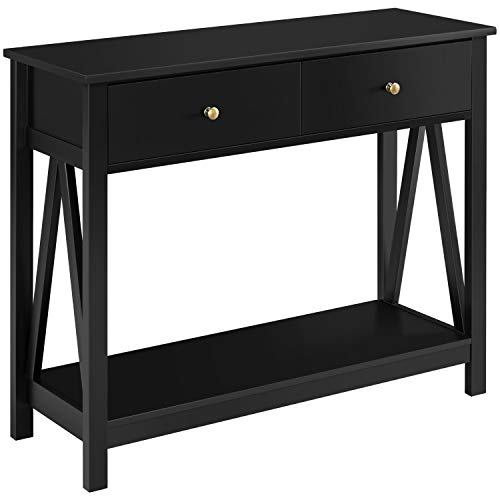 YAHEETECH Wooden Console Table, Sofa Side Table, Hallway Table with 1 Drawer and Bottom Open Shelf for Entryway/Living Room, Black