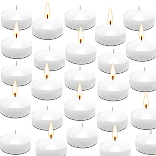 Floating Candles Unscented Discs for Wedding, Pool Party, Holiday & Home Decor, 2 Inch, White Wax, Bulk Set of 24