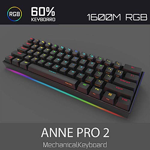 Anne Pro 2 Mechanical Gaming Keyboard 60% True RGB Backlit - Wired/Wireless Bluetooth 4.0 PBT Type-c Up to 8 Hours Extended Battery Life, Full Keys Programmable (Kailh Box Red, Black)