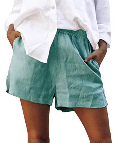 Onsoyours Donna Estate Pantaloncini di Base Hot Pants Ragazze Elastico in Vita da Donna Bermuda Spiaggia Lino Shorts Puro Colore Blu Large