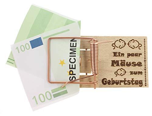 MIK Funshopping Geldgeschenk-Verpackung Mausefalle mit Spruch, witzige Geschenkidee zum Geburtstag, zur Hochzeit und zu Weihnachten (EIN Paar Mäuse zum Geburtstag)