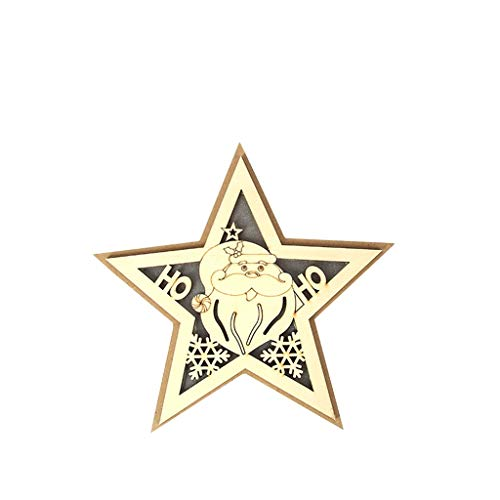 Wooden Five Pointed Star LED Lights Christmas Halloween Decoration Bedside Lamp, Home Decor for Christmas Day (A)