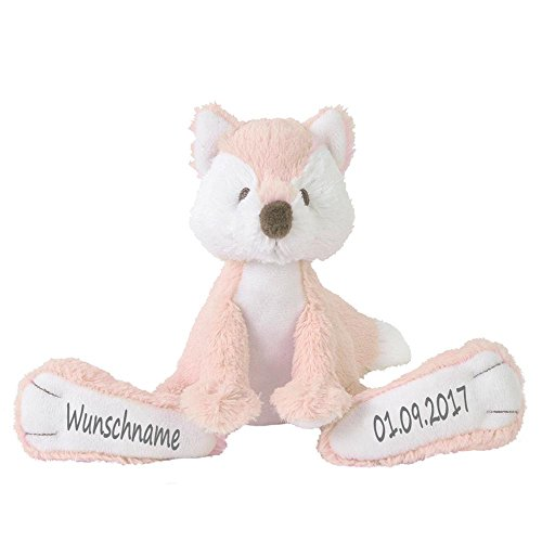 Elefantasie Stofftier Fuchs mit Namen und Geburtsdatum personalisiert Geschenk zartrosa
