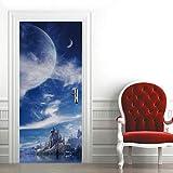 Etiqueta de Puerta Planeta Cielo Azul Pegatinas de Pared Decoración de Hogar 95 x 215 cm