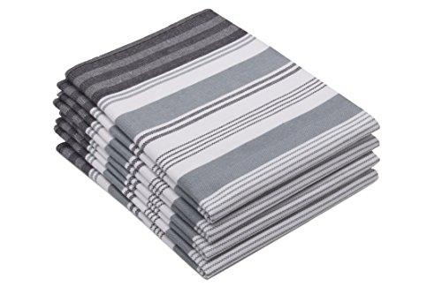 ZOLLNER 4er Set Geschirrtücher 50x70 cm, 100% Baumwolle, 220g/qm, grau
