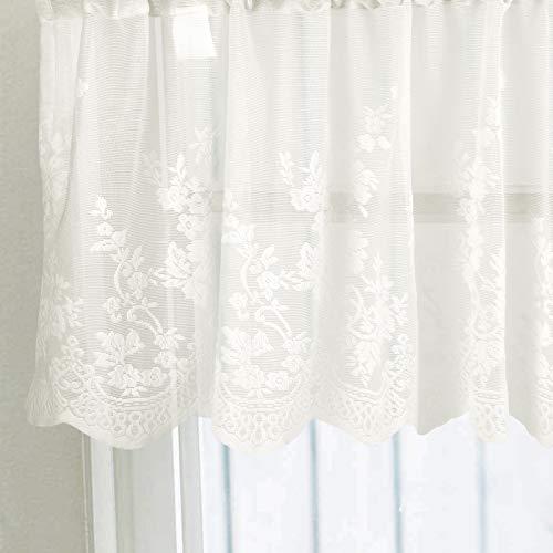 Ruiboury Lace Ruffle Cafe Kitchen Window Drape Valance semi Finestra drappo mantovana, tende trasparente Voile tende Trattamento Finestra