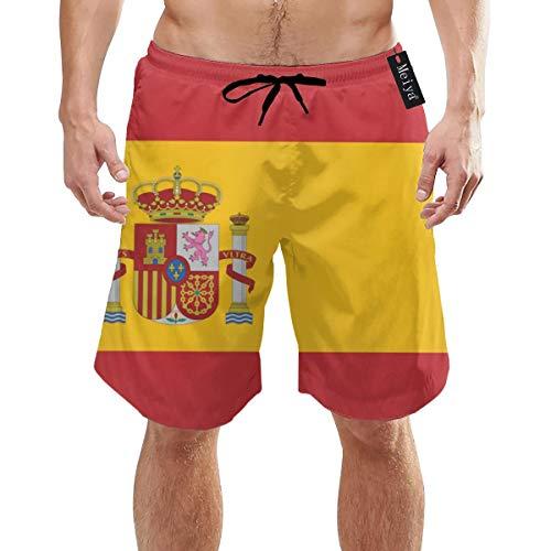 Alysai Flagge von Spanien Herren Badehose Sommer Coole Quick Dry Boardshorts Badeanzug mit Seitentaschen Mesh Futter XXL