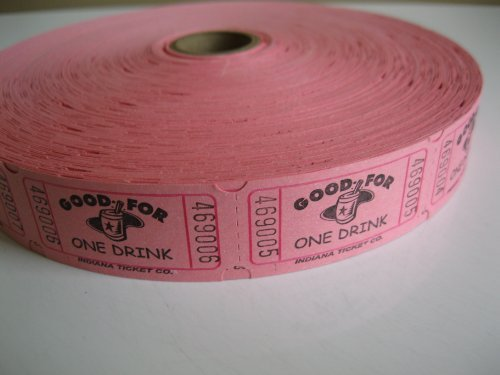 2000 Pink Good For One Drink Single Roll Consecutively Numbered Raffle Tickets