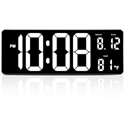 DreamSky 14.5 Inches Extra Large LED Digital Clock with Date Indoor Temperature Display, Oversized Desk Office Wall Clock with Fold Out Stand, Large Number Display, Plug in Clock with Auto DST