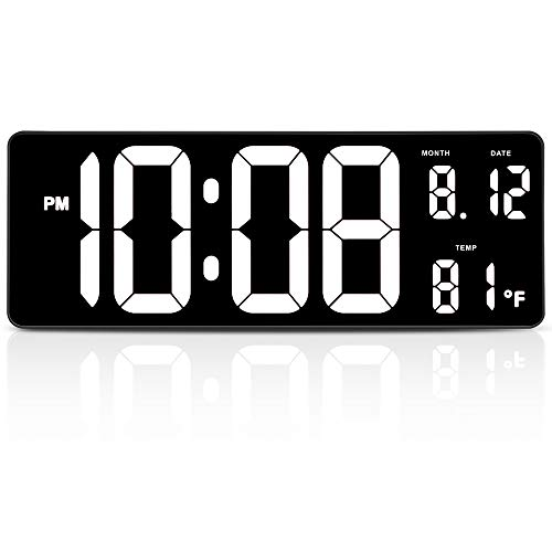 """DreamSky 14.5"""" Large Digital Wall Clock with Date Indoor Temperature Display, Over Sized Desk Office Led Clocks with Fold Out Stand, Large Number Display, Plug in Clock with Auto DST"""