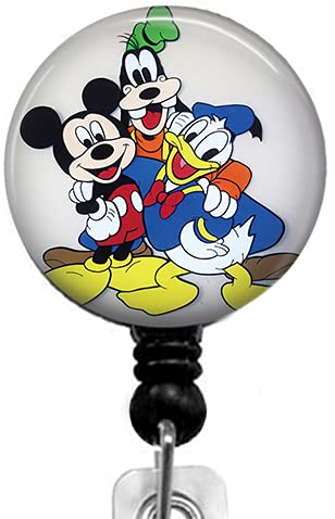 The Family of Mickey Mouse Retractable ID Card Badge Holder with Alligator Clip, Medical Nurse Badge ID, Office Employee Name Badge