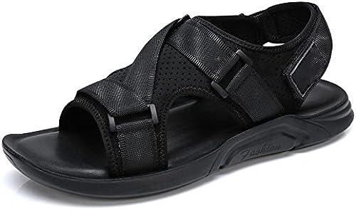 LQV Herren Sandalen Sandalen Sandalen Sommer Stil Neue Mode Durchbohrt Ledersandalen Atmungsaktiv Braut Stil Velcro Freizeit Sandalen  Online-Verkauf
