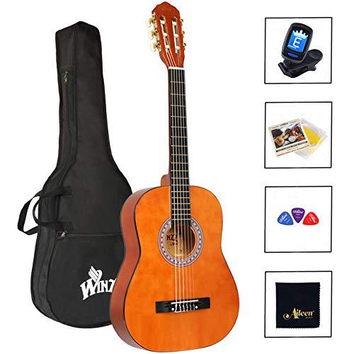 Winzz Guitarra Clásica Cuerda de Nylon 3/4 Tamaño 36'' Kit de Inicio para Estudiantes Principiantes con Bolsa, Afinador, Cuerdas Adicionales y Paño de Pulido
