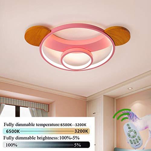Lámpara de techo, Luz de techo LED, Regulable con control remoto, Forma de Bear 5cm de espesor Plafón, Lámpara de habitación infantil,lámpara de dormitorio, guardería,salón Iluminación,Rosado,50cm38W