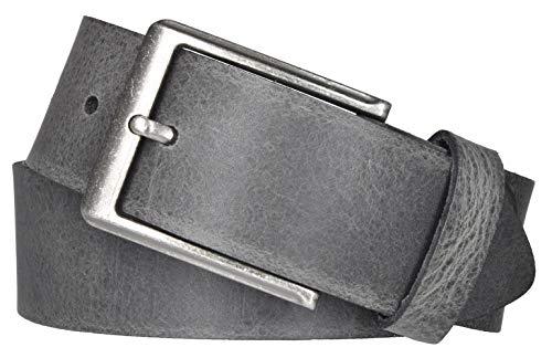 Mytem-Gear Leder Gürtel 4 cm Jeansgürtel Ledergürtel kürzbar (90 cm, Grau (Ledergürtelschlaufe))