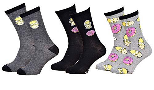 Disney Socks And Underwear Herren-Socken Simpsons aus Baumwolle, verschiedene Modelle mit Fotos je nach Verfügbarkeit, mehrfarbig Gr. One size, Set mit 3 Paar Donuts.