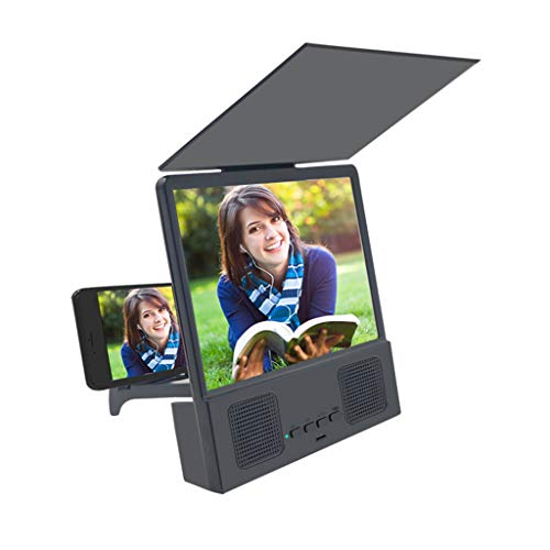 Atezch Light 3D HD Screen Magnifier 12'' with Bluetooth Speakers,Protable Phone Projector with Foldable Holder Stand for Movies, Videos, and Gaming on All Smart Phone