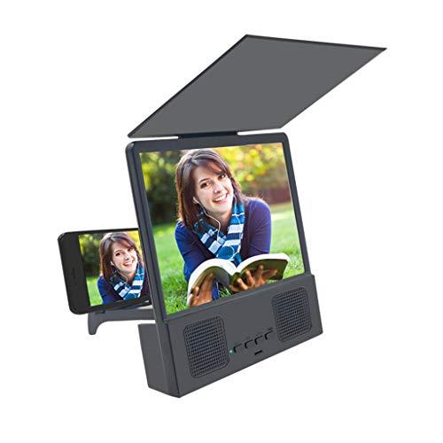 Atezch Lupa de pantalla 3D HD de 12 pulgadas con altavoces Bluetooth, proyector de teléfono portátil con soporte plegable para películas, vídeos y juegos en todos los teléfonos inteligentes
