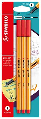 Fineliner - STABILO point 88 - 3er Pack - rot