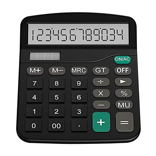 RoxTop Finance solaire informatique d'entreprise Bureau Calculatrice 12 chiffres Calculatrice de bureau (noir)