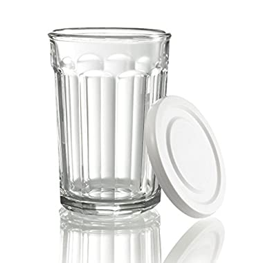 Arc International Luminarc Working Glass Storage Jar/Cooler with White Lid, 21-Ounce, Set of 4 2 pack total set of 8)